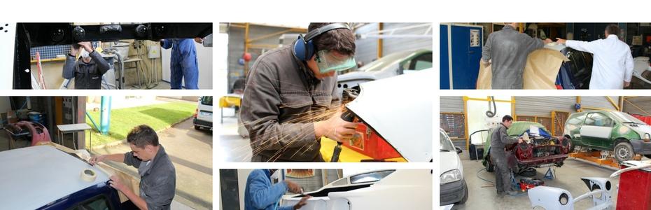 Carrossiers et peintres en plein travail aux ateliers